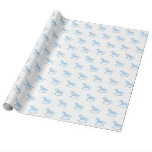 Rocking Horse Wrapping Paper Blue