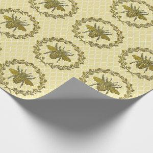 Romantic Gold Bee and Wreath Wrapping Paper