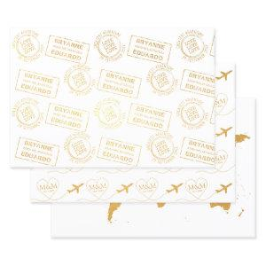 Romantic Passport Stamp Airplane Travel Wedding Foil Wrapping Paper Sheets