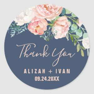 Romantic Peony Flowers | Blue Thank You Favor Classic Round Sticker