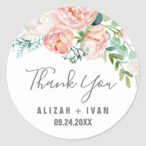 Romantic Peony Flowers Thank You Wedding Favor Classic Round Sticker