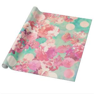 Romantic Pink Retro Floral Pattern Teal Polka Dots Wrapping Paper