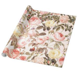 Romantic pink vintage rose flower pattern wrapping paper