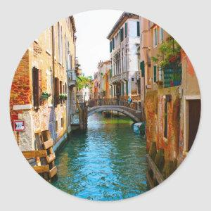 Romantic places in Venice with channels and beauti Classic Round Sticker
