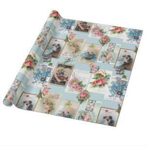 Romantic Victorian Valentine Cards Wrapping Paper