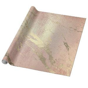 Rose Blush Foxier Skin Gold Marble Shiny VIP Wrapping Paper