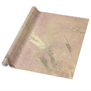 Rose Blush Strokes Skin Gold Marble Shiny VIP Wrapping Paper