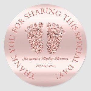 Rose Glitter Feet Baby Shower Favor Thank You Glam Classic Round Sticker