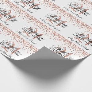 Rose Gold 21st Birthday Faux Glitter Confetti Wrapping Paper