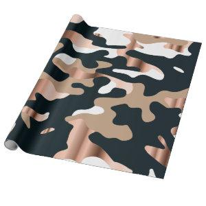 Rose gold and black camouflage wrapping paper