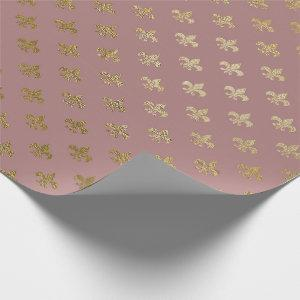 Rose Gold Blush Fior de Lis Gold Mauve Lilac Wrapping Paper