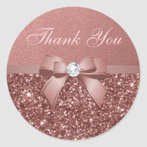 Rose Gold Blush Thank You Glitter Diamonds Bow Classic Round Sticker
