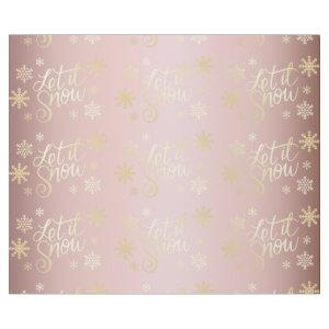 Rose Gold Christmas Let It Snow & Snowflakes Wrapping Paper