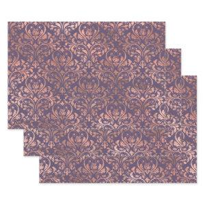 Rose Gold Damask on Purple Wrapping Paper Sheets