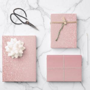 Rose Gold Faux Glitter Blush Ombre Mix Wrapping Paper Sheets