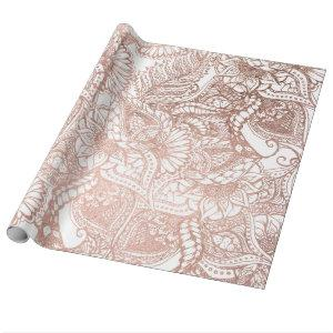 Rose gold foil hand drawn floral pattern girly wrapping paper
