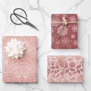 Rose Gold Glitter Elegant Christmas Gift Wrapping Paper Sheets