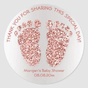 Rose Gold Glitter Feet Baby Shower Favor Thank You Classic Round Sticker