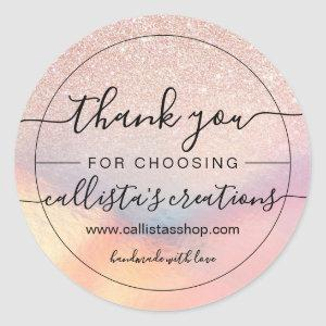 Rose Gold Glitter Iridescent Holographic Thank You Classic Round Sticker