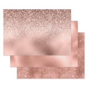Rose Gold Glitter look Foils Wrapping Paper Sheets