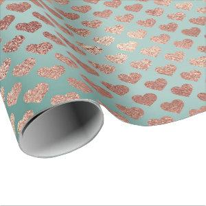 Rose Gold Glitter Metallic Mint Blue Hearts Wrapping Paper