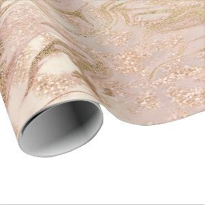 Rose Gold Glitter Pink Marble White Abstract Metal Wrapping Paper