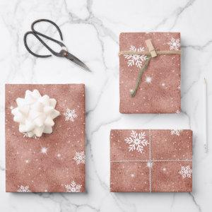 Rose Gold Glitter Stars Snowflakes Pattern Wrapping Paper Sheets