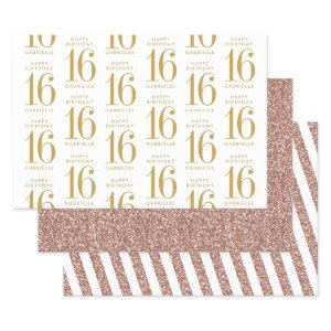 Rose Gold Glitter Sweet 16 Personalized Pink Wrapping Paper Sheets
