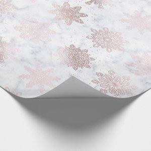 Rose Gold & Marble Snowflake Christmas Pattern Wrapping Paper