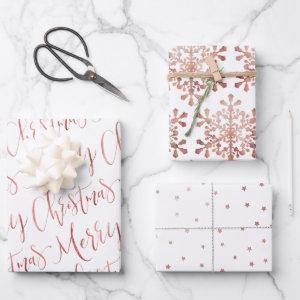 Rose Gold Merry Christmas Script Snowflakes Star Wrapping Paper Sheets