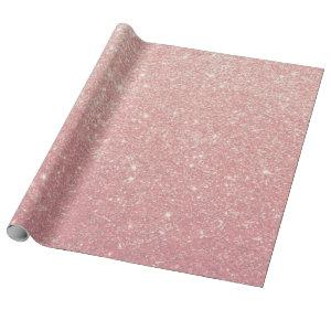Rose Gold Pink Glitter Glam Faux Wrapping Paper