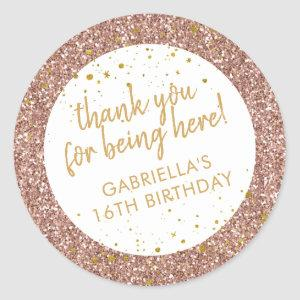 Rose Gold Pink Glitter Thank You Birthday Favor Classic Round Sticker