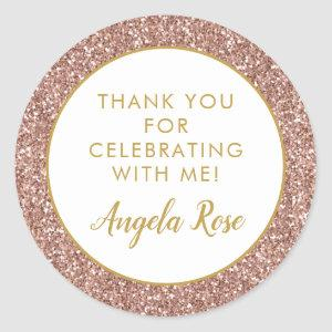 Rose Gold Pink Glitter Thank You Party Favor Classic Round Sticker