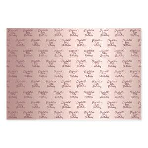 Rose gold pink monogram name birthday wrapping paper sheets