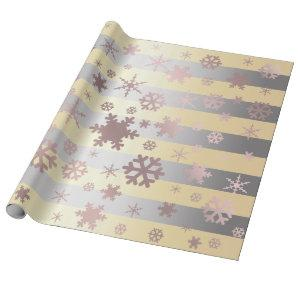 Rose Gold & Silver Christmas Snowflake Pattern Wrapping Paper