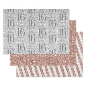 Rose Gold Silver Glitter Sweet 16 Custom Pink Wrapping Paper Sheets
