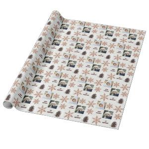 Rose Gold Snowflake 3 Photo Collage Christmas Wrapping Paper