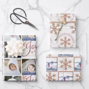 Rose Gold Snowflake Christmas Holiday Your Photos Wrapping Paper Sheets