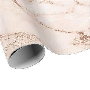 Rose Gold White Coral Blush Carrara Marble Stone Wrapping Paper