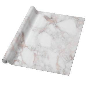 Rose-gold & White Faux Marble Stone Wrapping Paper