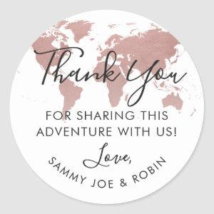 Rose Gold World Map Travel Theme Thank You Favor Classic Round Sticker