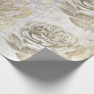 Roses Foxier Gold Pearly Metallic Floral White Wrapping Paper