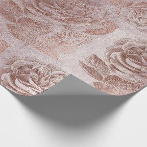 Roses Pink Rose Gold Metallic Floral Blush Powder Wrapping Paper