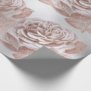 Roses Rose Gold Pastel Metallic Floral Silver Gray Wrapping Paper