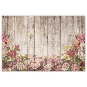 Roses Rustic Wood Decoupage Tissue Paper