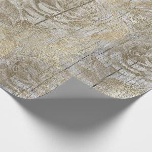 Roses Silver Gray Floral Wood Foxier Gold Rustic Wrapping Paper