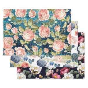 ROSES THREE WAYS HEAVY WEIGHT DECOUPAGE WRAPPING PAPER SHEETS
