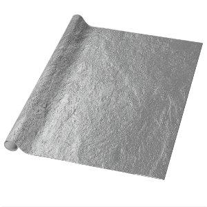 Rough Textured Silver Pewter Stone Wrapping Paper