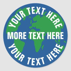 Round save planet earth stickers with custom text
