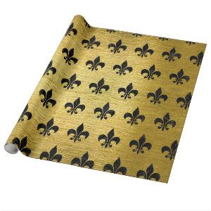 ROYAL1 BLACK MARBLE & GOLD BRUSHED METAL WRAPPING PAPER